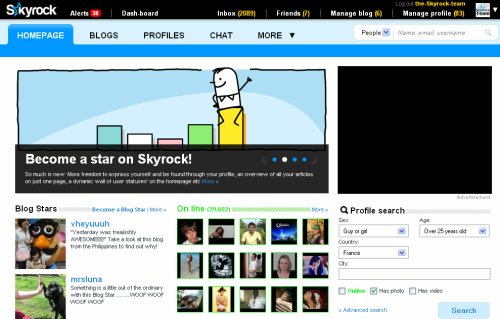 Skyrock's New Streamlined Design